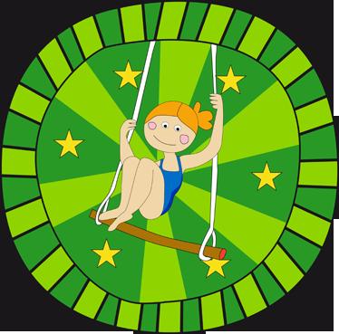 TenStickers. Trapez sanatçısı dekoratif çıkartma. Yıldızlarla çevrili güzel bir trapez sanatçının duvar sticker! Eğer çocuklarınız sirki sevdiyse, bu onlar için mükemmel bir çıkartmadır.