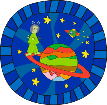 TenStickers. Kids Alien Planet Wall Mural. Kids Wall Stickers - Original illustration with an imaginative space theme. An alien on a planet surrounded by a space ship and stars.
