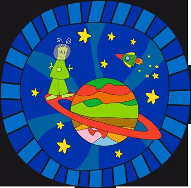 TenStickers. Sticker kind ruimte planeten sterren. Deze ronde muursticker van de ruimte is ideaal voor het decoreren van de kinderkamer. Afmetingen aanpasbaar. Voordelig personaliseren.