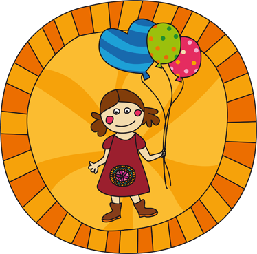 TenStickers. Little Girl with Balloons Sticker. Sticker designed by Fina Gibert in which a girl with three balloons appears.