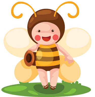 TenStickers. Kids Bee Costume Wall Sticker. Kids Wall Stickers- Playful illustration of a kid dressed as a bee.Ideal for decorating areas for kids. Available in various sizes.