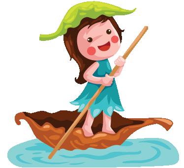 Tenstickers. Flicka seglar barn klistermärke. Ett barnklistermärke som illustrerar en flicka som seglar i en liten båt gjord av ett torrt blad.