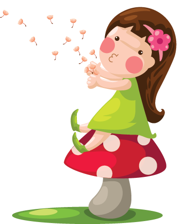 TenStickers. Little Girl & Dandelions Kids Sticker. A wonderful fairy tale wall sticker illustrating a little girl blowing the dandelions away after having made a wish! A sweet design of this girl sitting down on a mushroom and enjoying her free time. This kids decal is perfect for decorating a little girl's bedroom or nursery.