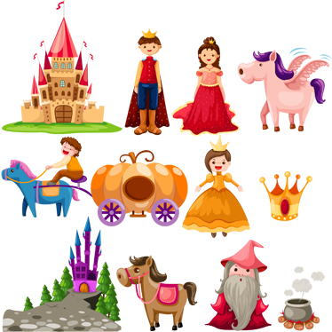TenStickers. Story Tale Kids Stickers. A set of story tale stickers for kids! Different characters with magical animals and places such as the castles!