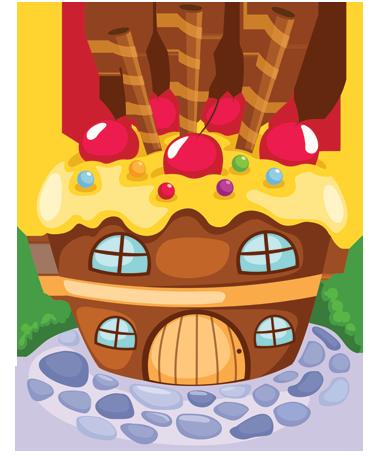 TenStickers. Sticker enfant maison de sucreries. Super idée déco pour la chambre d'enfant avec ce stickers créatif illustrant la maison de sucreries de la sorcière dans le conte des frères Grimm, Hansel y Gretel.