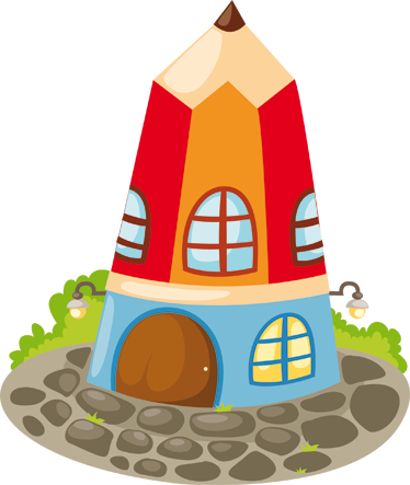 TenStickers. Pencil House Sticker. A fun sticker of a fantasy house in the shape of a sharp pencil. Ideal for letting your children's imagination run wild.