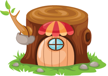 TenStickers. Tree Trunk Home Kids Sticker. Decorative decal of a small tree trunk home where a little elf lives. Kids sticker for the littles ones at home.