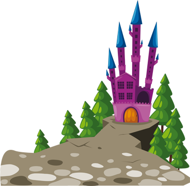 TenStickers. Evil Castle Kids Sticker. Decorative decal of a castle with an evil appearance where the witch has the beautiful princess imprisoned.