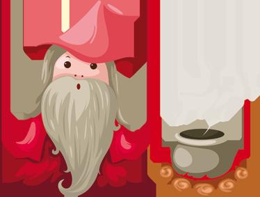 TenVinilo. Vinilo infantil ilustración brujo. Dibujo de un hechicero bueno a punto de preparar una poción mágica en su humeante olla. Adhesivo para pequeños magos.