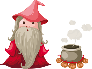 TENSTICKERS. ウィザード&コールドロンキッズステッカー. 子供ステッカー-彼の大釜で魔法のポーションを準備するウィザードのイラスト。若いウィザードに最適です。