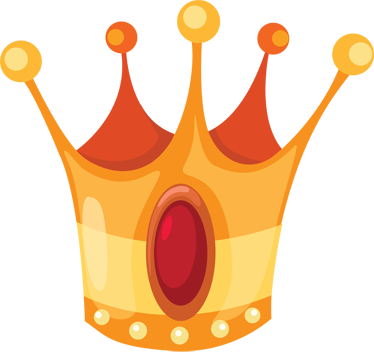 TenStickers. Golden Crown Kids Sticker. Kids sticker illustrating a golden and shiny crown property of a king from a story tale.