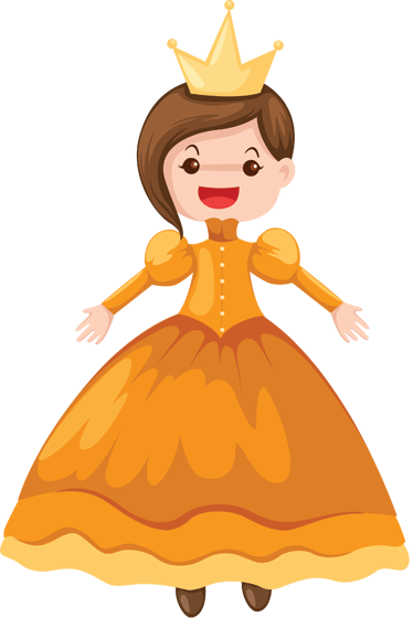 TenStickers. Princess Illustration Wall Decal. Kids Wall Stickers - Fun and colourful illustration of a princess in a beautiful dress and gold crown.