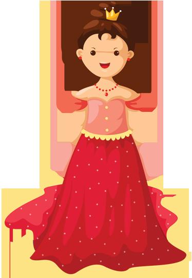 Tenstickers. Lilla drottning barn klistermärken. Ett dekorativt dekal av en liten flicka klädd som en drottning. Denna drottning bär en vacker röd klänning med en blank krona!
