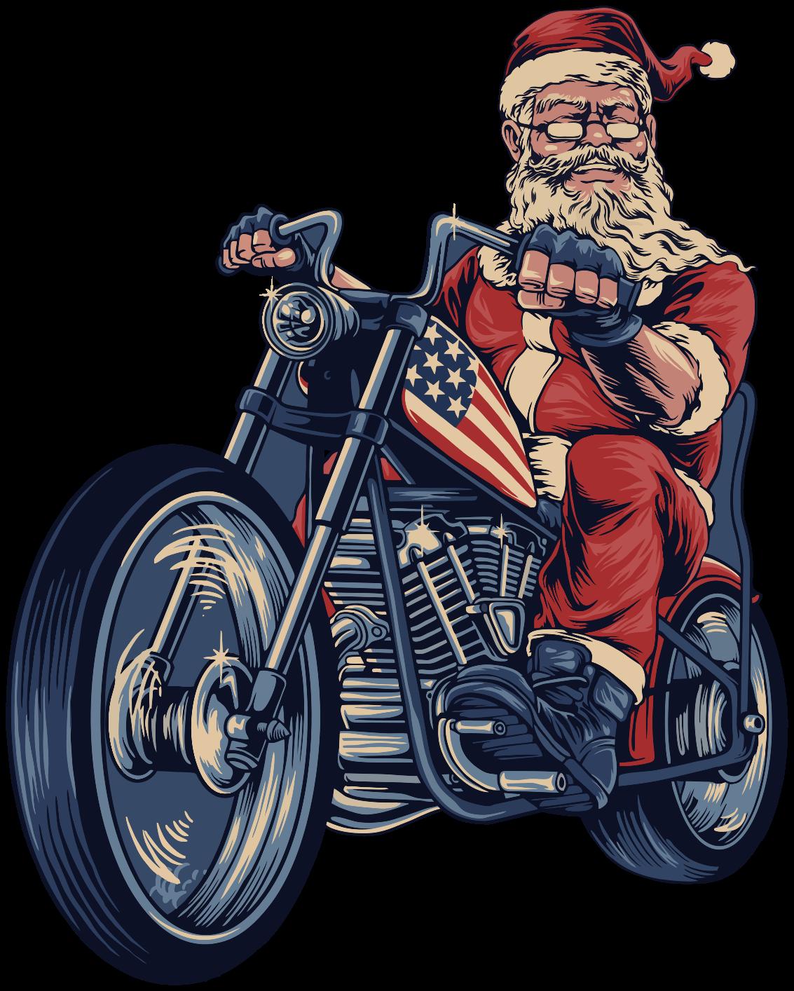 TenVinilo. Vinilo navideño Papá Noel en moto rockera. Vinilo navideño de Papá Noel en una motocicleta de rock. Adecuado para tu decoración navideña en tu casa ¡Descuentos disponibles!