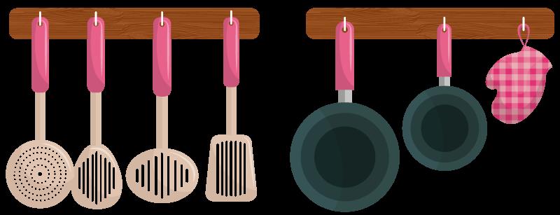 TENSTICKERS. 漫画の吊り下げ器具キッチンステッカー. ハンガーに掛かっている調理スプーンとフライパンのデザインの装飾的なキッチンウォールステッカー。オリジナルで簡単に適用でき、取り外し可能です。