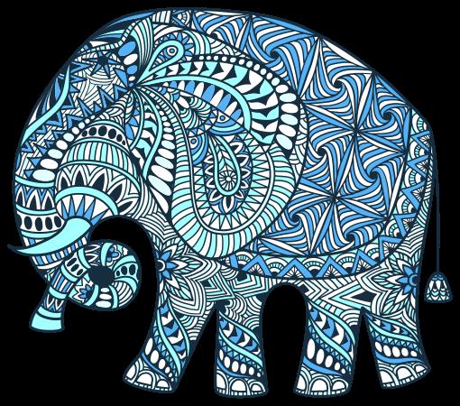 TENSTICKERS. 花の花の壁のステッカーと象の曼荼羅. 曼荼羅模様の象のウォールアートステッカー。倫理的な曼荼羅でパターン化された巨大な野生の象のデザインで、リビングルームやベッドルームを一変させましょう。