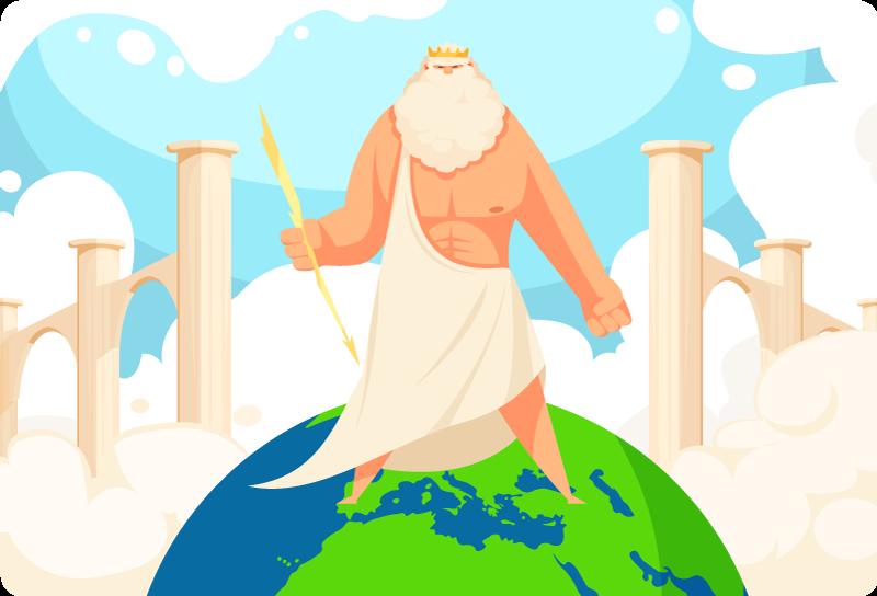 TENSTICKERS. 地球のラップトップステッカーのギリシャ. ノートパソコン用ギリシャ神話のイラストデカール。デザインは、周りの海の轟音の雷の効果で世界の地球上に立っているギリシャの神を示しています。