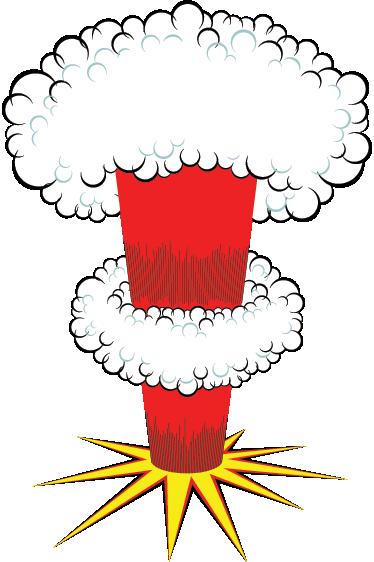 TenStickers. Sticker animatie nucleaire explosie. Deze muursticker omtrent een nucleaire explosie met felle kleuren. Een origineel idee om meer energie te creëren.