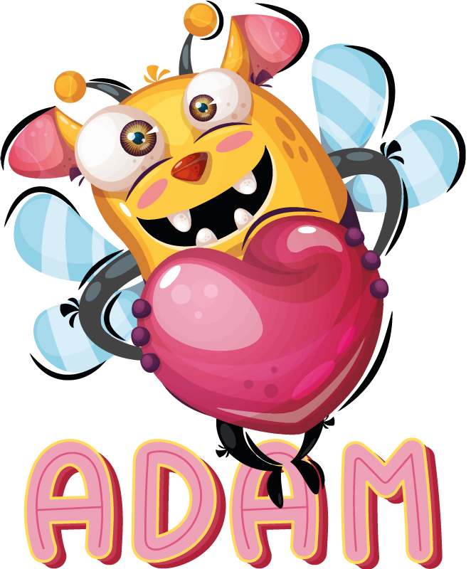 TenStickers. Bee Monster Sticker. A sticker of a terrifying monster with the body a bee and sharp scary teeth.