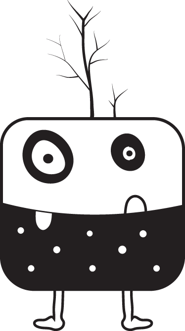 TenStickers. Square Monster Sticker. Unusual and quirky sticker of a surreal squared shaped monster with branches sprouting from its head.