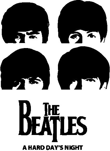 TenStickers. Sticker hoofden The beatles. Muursticker van The Beatles gebaseerd op het album A Hard Day's Night. Prachtige wanddecoratie met de hoofden van de 4 artiesten uit Liverpool.