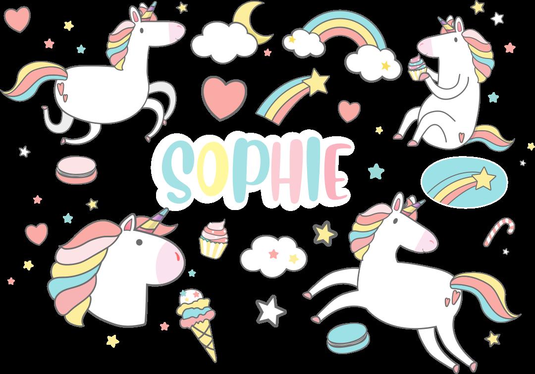 TenVinilo. Vinilo 4 unicornios con nombre tonos pastel. Vinilo unicornios con nombre personalizable para niños. El diseño contiene dibujos de unicornios y arco iris con nubes ¡Compra online!