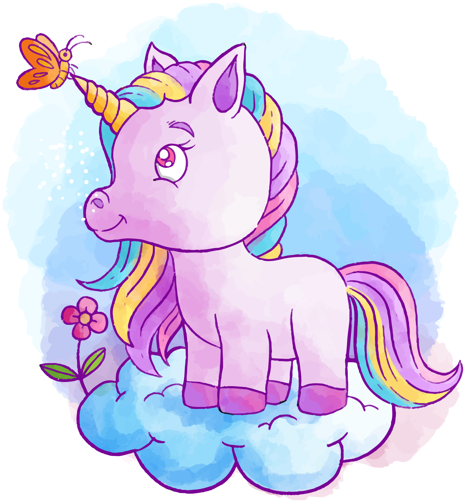 TenStickers. Unicorn with butterfly and rainbow cinema sticker. Bring that fairy fantast story of a unicorn to the bedroom of your kid with our amazing illustration decal of a colorful baby unicorn.