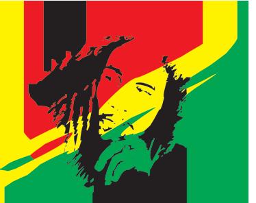 TenVinilo. Vinilo decorativo Bob Marley Jamaica. Pegatina con una silueta del más famoso cantante de reggae y de fondo una bandera jamaicana de trazo.