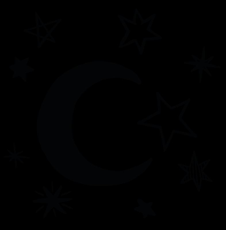 TenVinilo. Pack 9 vinilos de estrellas con luna monocolor. Vinilos infantiles de estrellas y lunas para que decores la habitación de tus hijos con un diseño original. Elige medidas ¡Envío exprés!