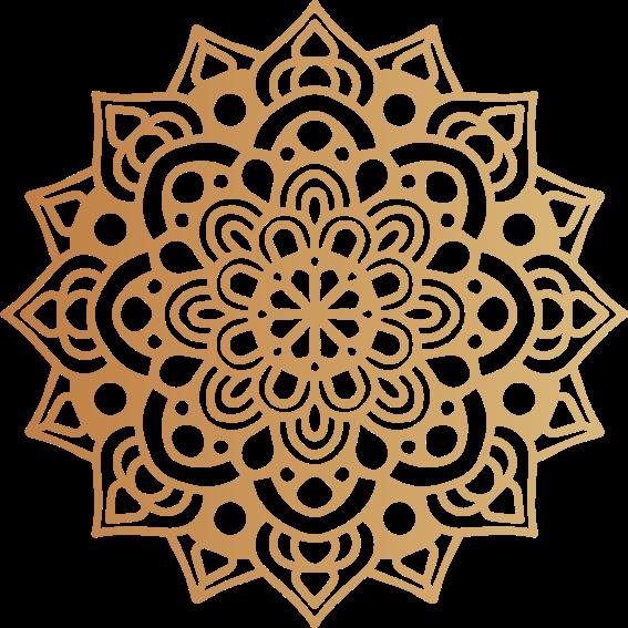 TenStickers. Aufkleber floral Luxus-arabesken-mandala. Luxus arabesque mandala blumen Wandtattoo . Lassen Sie Ihr Zuhause mit unserem goldfarbenen dekorativen mandala-aufkleber mit einem dekorativen effekt versehen.