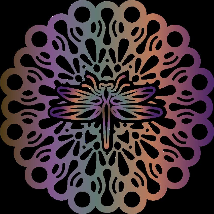 TENSTICKERS. トンボの魔法のマンダラ花のウォールステッカー. 美しいトンボの魔法のマンダラ花のウォールステッカー。家のあらゆるスペースに適しており、適用が非常に簡単です。