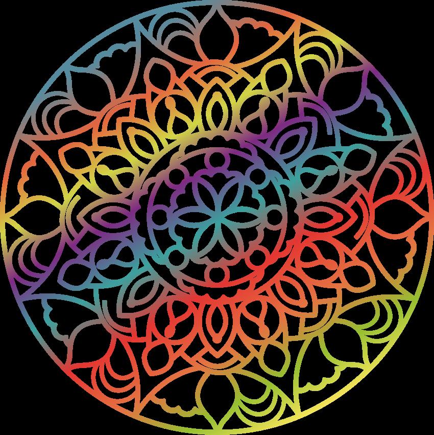TENSTICKERS. カラフルなレインボーマンダラフローラルウォールステッカー. 虹の色を模した装飾的な曼荼羅のウォールアートステッカー。家の壁のスペースを飾るための美しいウォールアートデザイン。適用が簡単です。