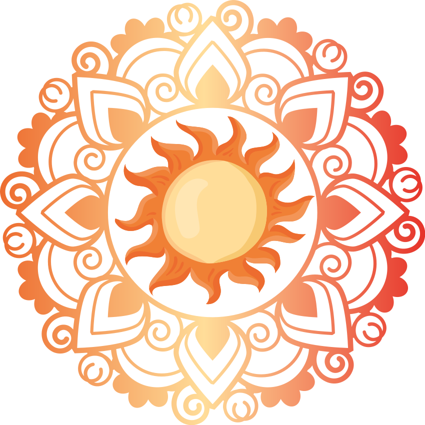 TenStickers. Aufkleber floral Sonnenmandala. Sun mandala blumen Wandtattoo dekoration für schlafzimmer, wohnzimmer und andere räume ihrer wahl. Es ist einfach anzuwenden und von hoher Qualität.