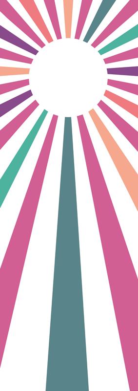 TenVinilo. Vinilo mampara ducha sol geométrico de los 70. Diseño encantador de vinilo mampara ducha de los geométrico vintage en tonos morados para decorar. Elige medidas ¡Envío exprés!