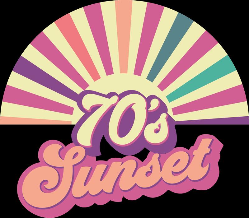 """TenVinilo. Frase en vinilo sol geométrico de los 70. Frase en vinilo para pared de puesta de sol con diferentes colores con un estilo vintage y la frase """"sol de los 70"""" ¡Descuentos disponibles!"""
