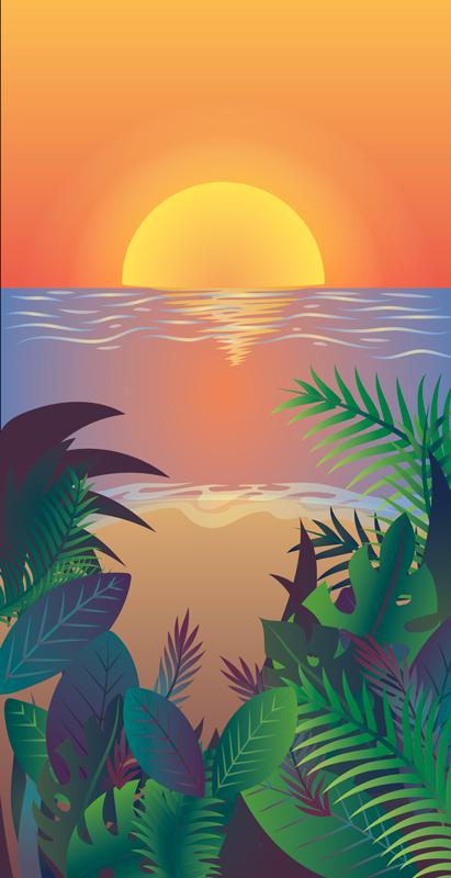 TENSTICKERS. レトロな太陽のビーチのiphoneデカール. レトロなスタイルのこの装飾的な日没のiphoneデカールは、お使いの携帯電話の外観を向上させます。オリジナルで簡単に適用できます。