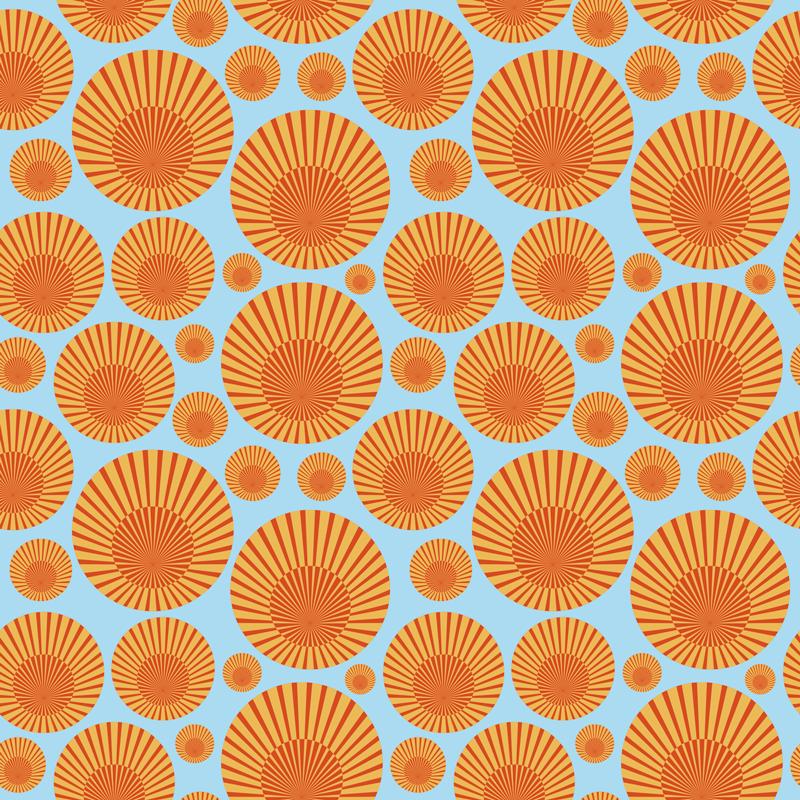 TenVinilo. Vinilo mesa sol de los 70. Con este papel adhesivo para muebles de patrón de soles podrás decorar cualquier superficie plana que desees ¡Medidas personalizables!