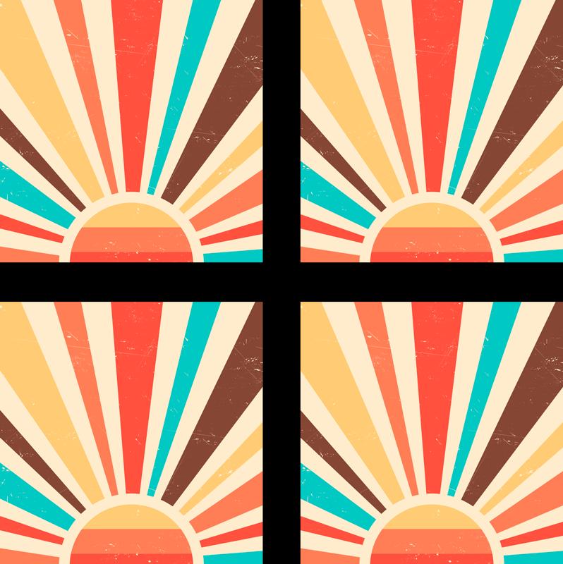TENSTICKERS. 抽象的なヴィンテージサンセットタイル転送. あなたの家をスタイリッシュに飾るための抽象的なヴィンテージサンセットタイルステッカー。オリジナルで耐久性があり、簡単に適用できます。あなたが望むどんなサイズでも利用できます。