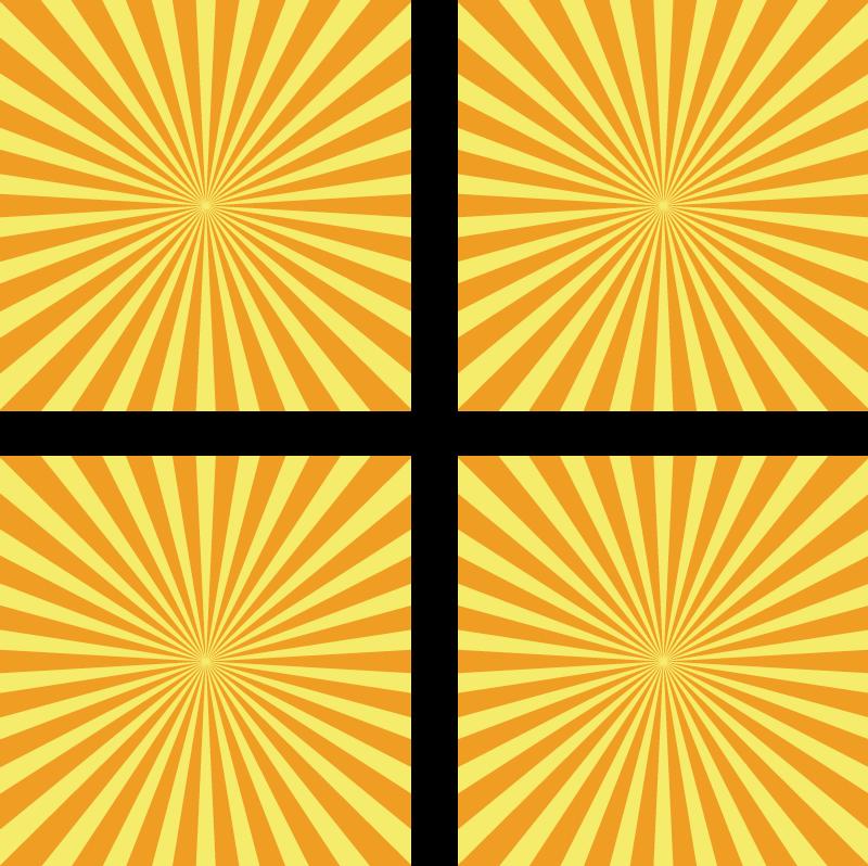 TENSTICKERS. オレンジ色のトーンのタイル転送と抽象的な夕日. あなたの壁を飾るための装飾的な太陽模様のタイルデカール。このデザインは、黄色とオレンジ色の滑らかな日光のグラデーション屈折を模倣しています。