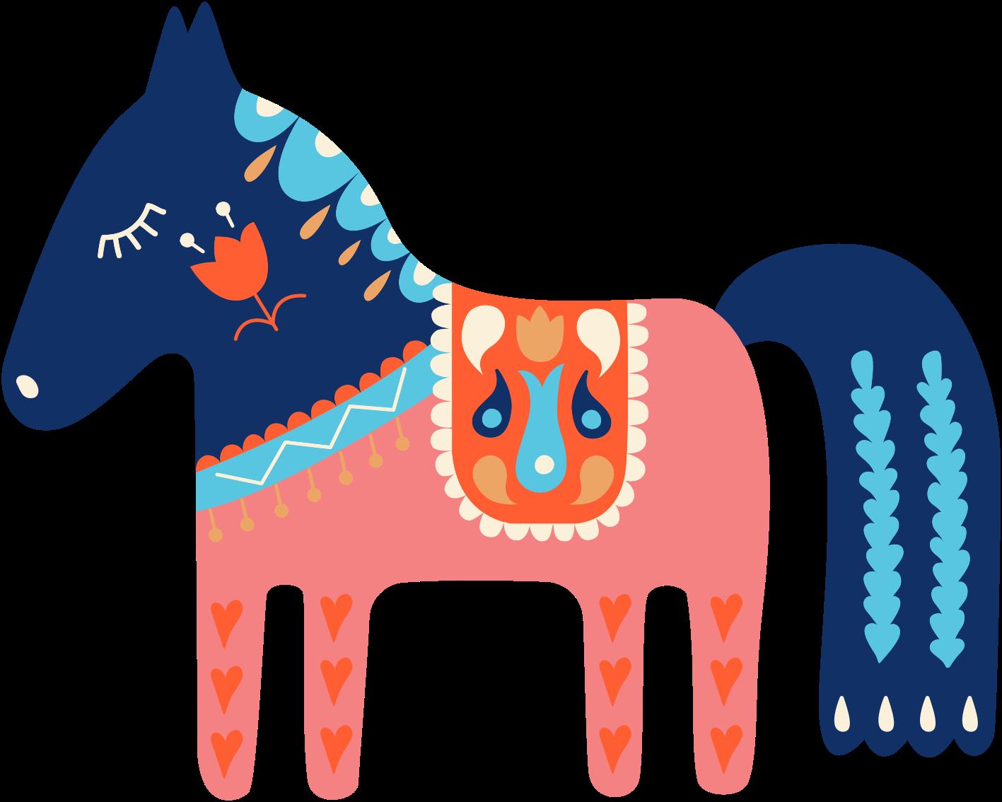 TenVinilo. Vinilo animales caballo azul folclore eslovaco. Fantástico vinilo de animales con caballo azul y vestimenta rosa de Eslovaquia para que decores tu casa de forma original ¡Envío exprés!