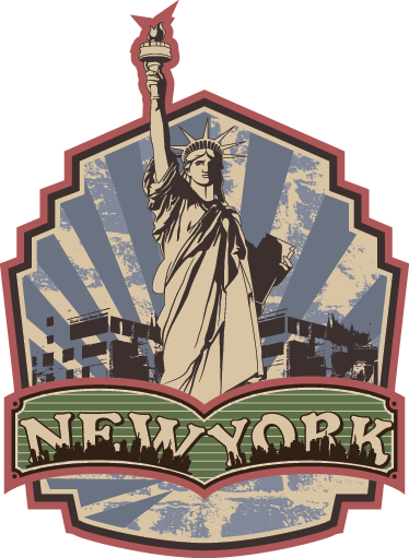 TenStickers. Retro New York Wall Sticker. A vintage decal inspired by New York's Statue of Liberty from our outstanding collection of retro wall stickers to personalise your home!