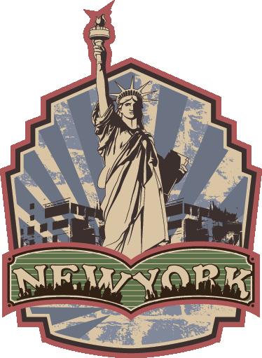 TenStickers. Autocolant retro new york. Un decal de epocă inspirat de statuia de libertate a lui new york din colecția noastră extraordinară de autocolante de perete retro pentru a vă personaliza casa!