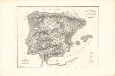 TenVinilo. Vinilo mapa España 1823. Fotografía adhesiva a alta resolución de un plano geopolítico del siglo XIX de la península Ibérica.
