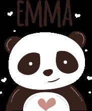 TenStickers. Autocolante decorativo para bebé Panda feliz com nome. Um vinil autocolante decorativo de parede de animal ilustrativo de panda feliz. Adequado para quartos de crianças e pode ser aplicado em outras superfícies planas, como móveis, porta, etc.