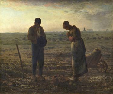 TENSTICKERS. アンジェラスの壁の壁画. 絵画-1859年に完成したフランスの画家ジャンフランソワミレーによるイラストは、フィールドでお辞儀をする2人の農民を描いています。