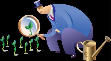 TENSTICKERS. バンカーイラストステッカー. 巨大な虫眼鏡を通して緑の発芽植物を見ている典型的な銀行家の面白いステッカー。