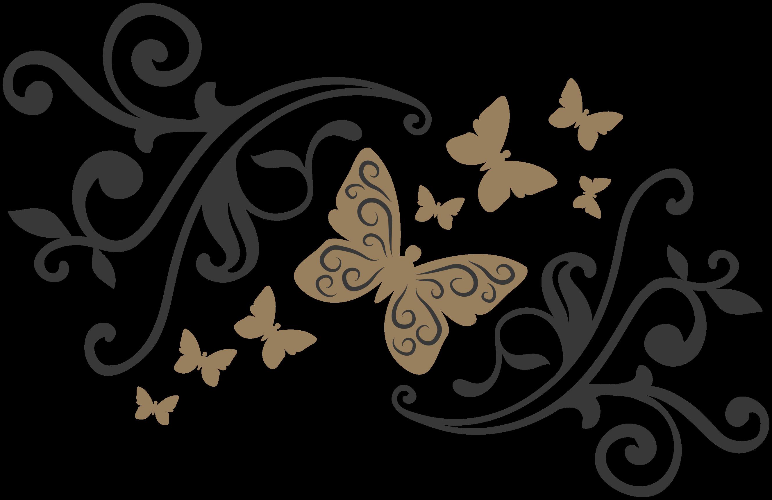 TenVinilo. Vinilo de mariposas elegantes con flores . Vinilo de mariposas elegantes con flores ornamentales para que decores tu salón, comedor o cuarto de forma exclusiva ¡Descuentos disponibles!