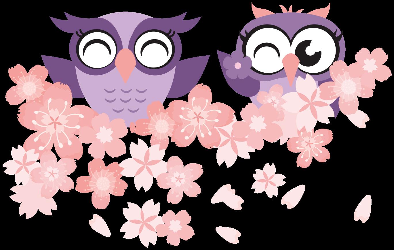 TenVinilo. Vinilo de animales búhos sobre flores de cerezo. Vinilo de animales infantiles con búho con flor de cerezo para que decores el cuarto de tu hija de forma original ¡Descuentos disponibles!
