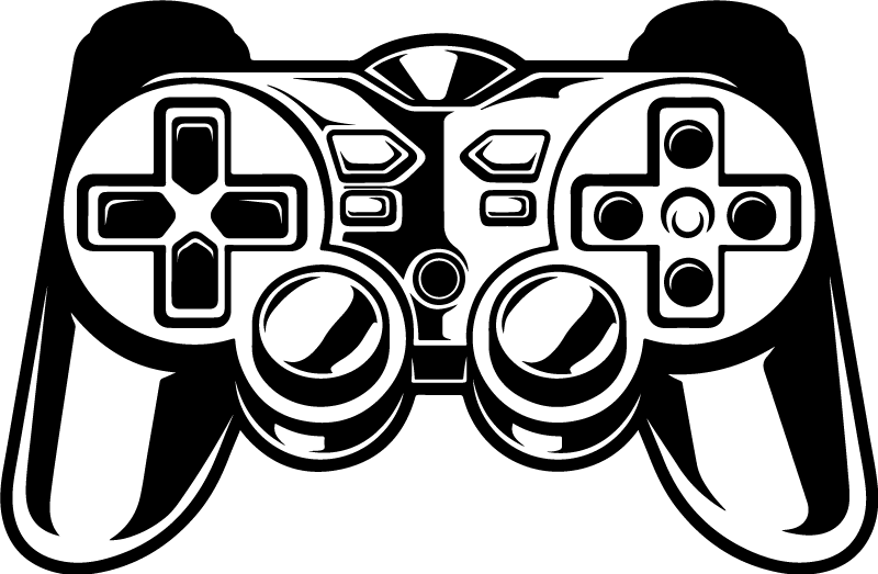 TenStickers. Autocolantes parede infantil Controlador de jogo preto. autocolante de jogo preto do controlador de jogo. Personalizável em outras opções de cores. Você pode selecionar uma cor mais adequada entre as cores no nosso catálogo.