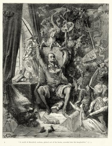 TenStickers. Sticker gravure Don Quichotte Doré. Reproduction en stickers de la célèbre gravure du personnage de Cervantes Quijote par l'illustrateur, graveur et peintre français Gustave Doré.